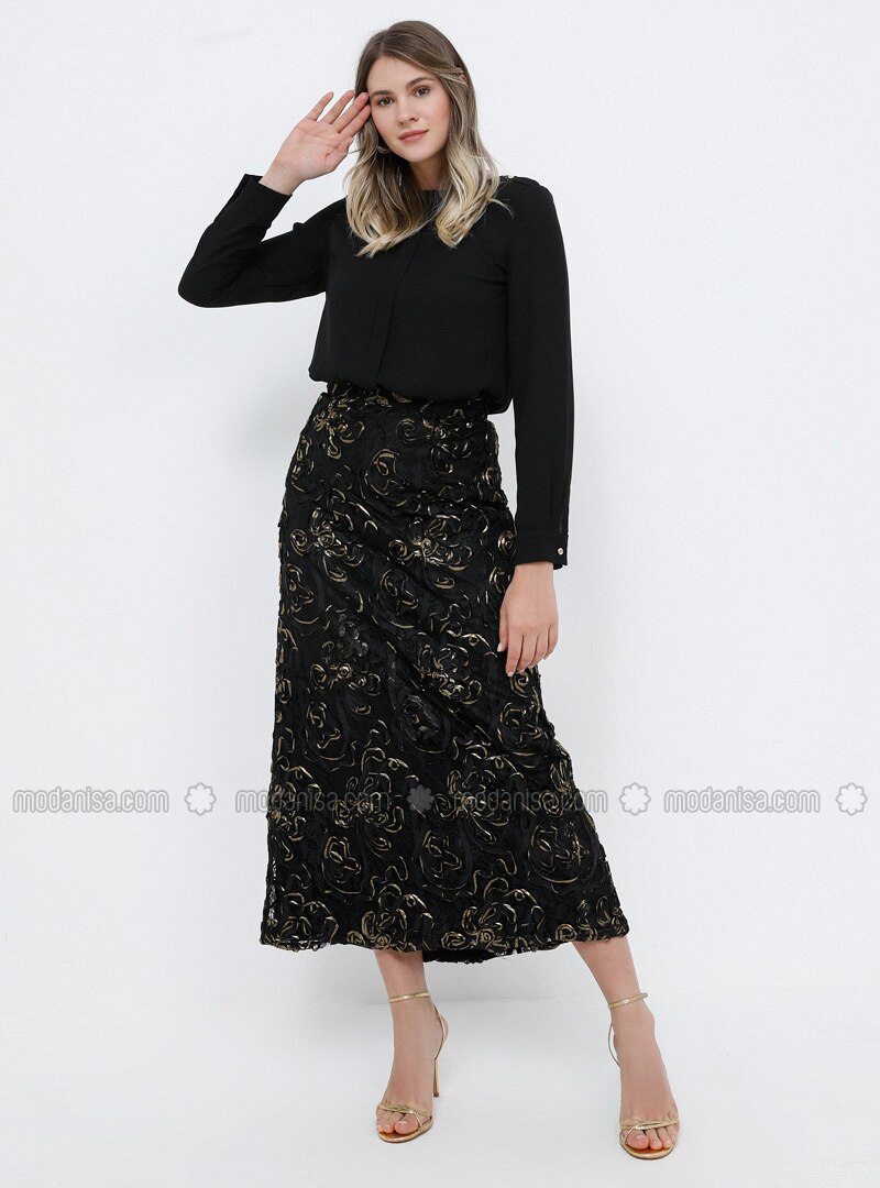 Black - Plus Size Evening Skirt