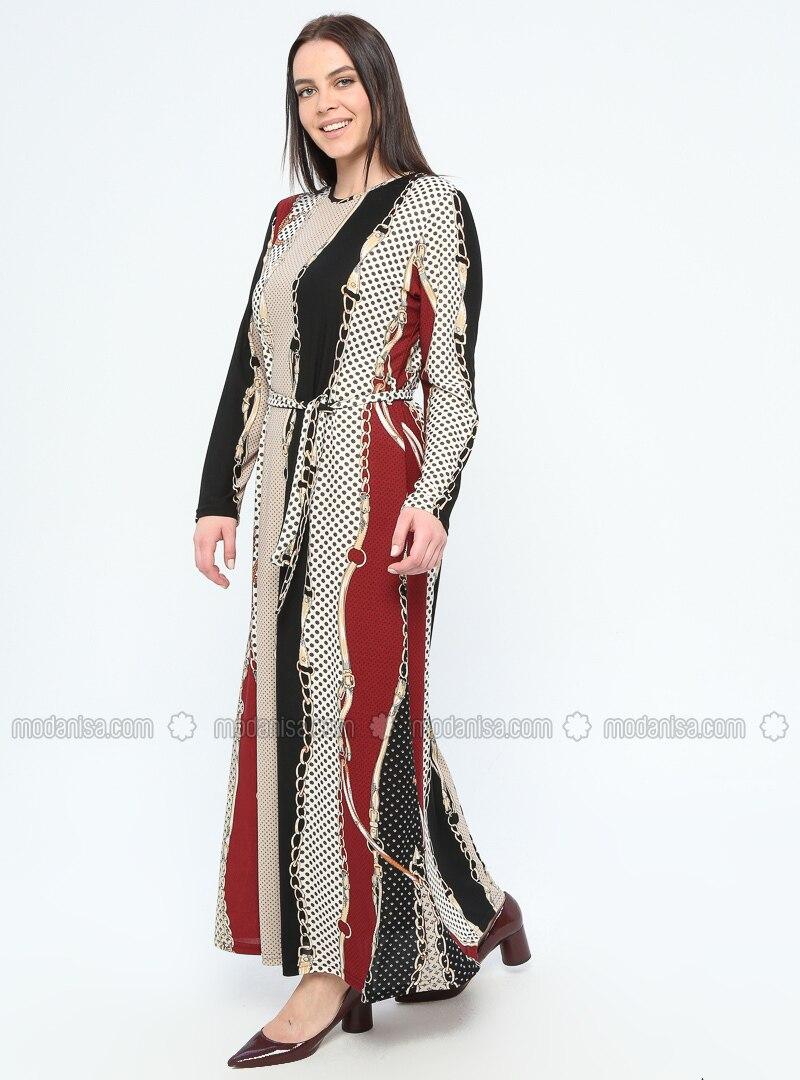 Maroon - Multi - Unlined - Crew neck - Plus Size Dress