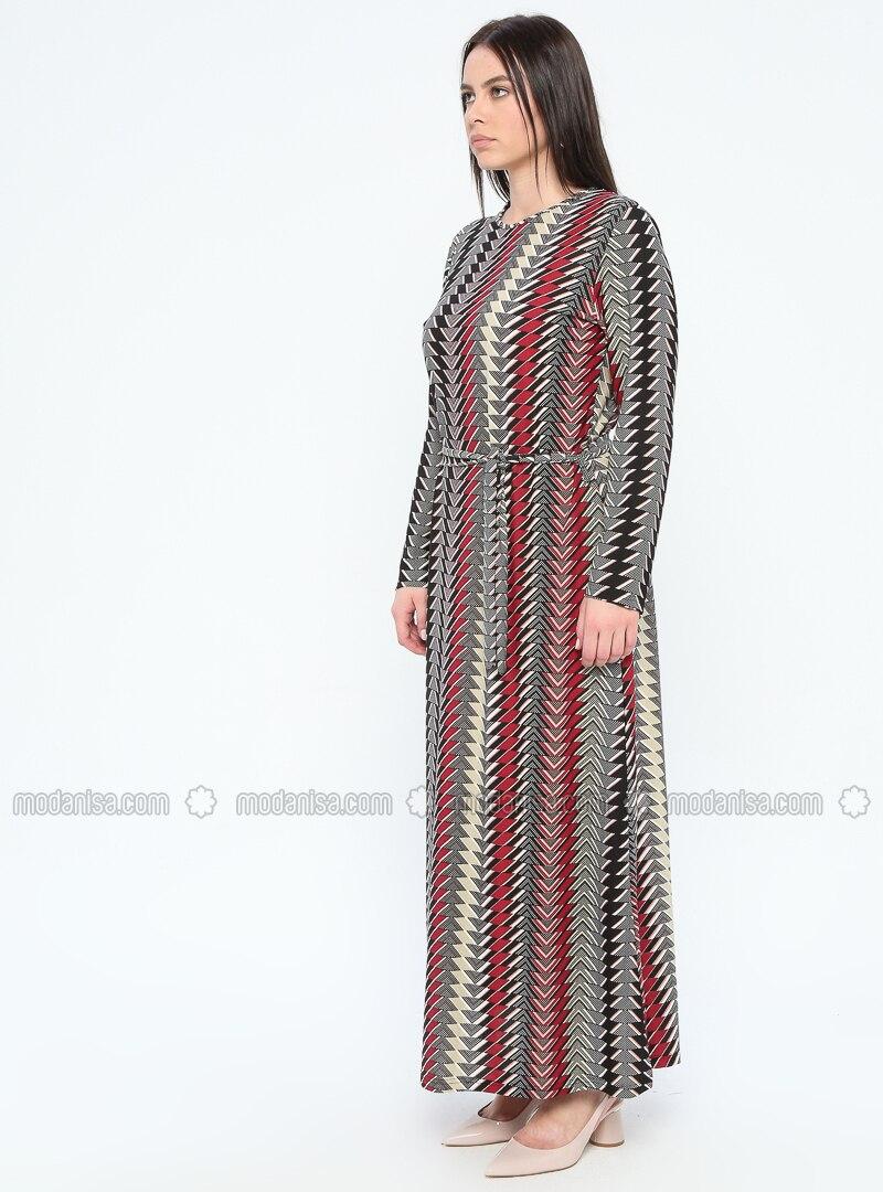 Pink - Fuchsia - Multi - Unlined - Crew neck - Plus Size Dress