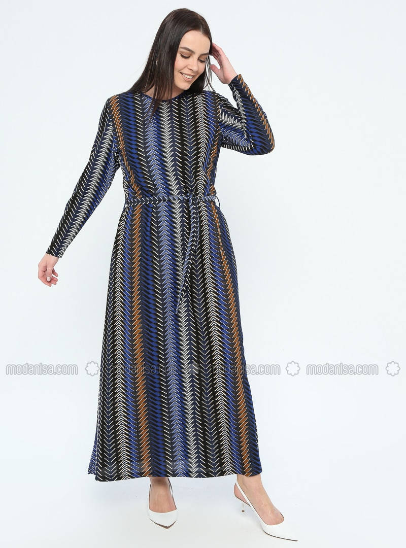 Navy Blue - Multi - Unlined - Crew neck - Plus Size Dress