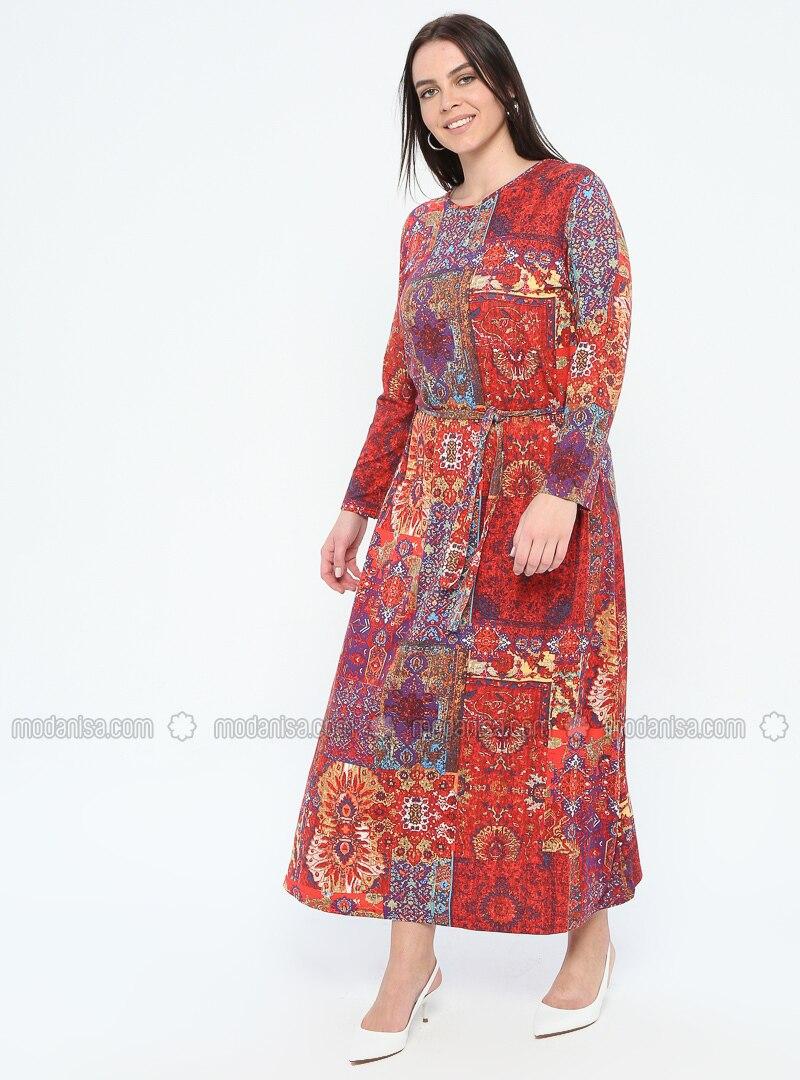 Coral - Multi - Unlined - Crew neck - Viscose - Plus Size Dress