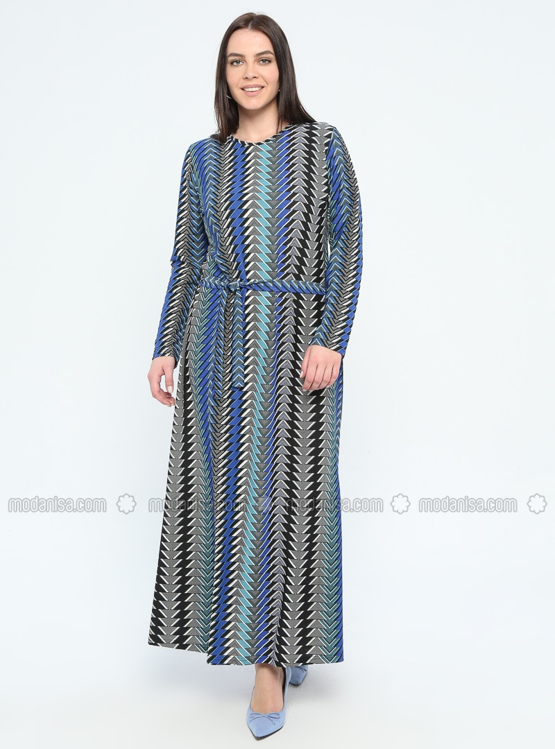 Saxe - Multi - Unlined - Crew neck - Plus Size Dress