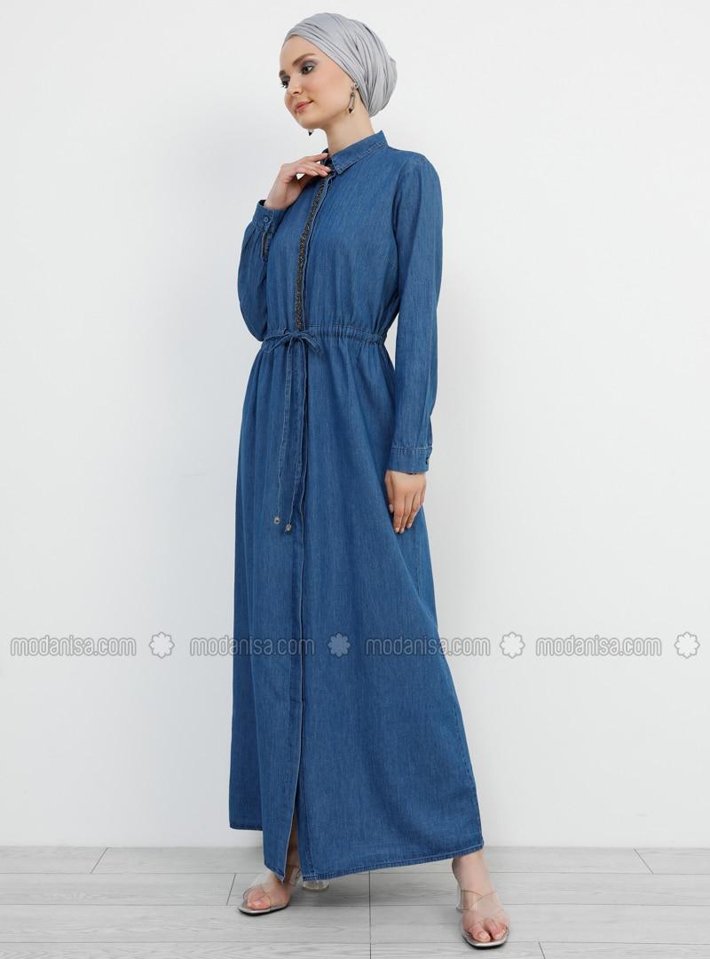 Blue - Navy Blue - Point Collar - Unlined - Cotton - Denim - Dress