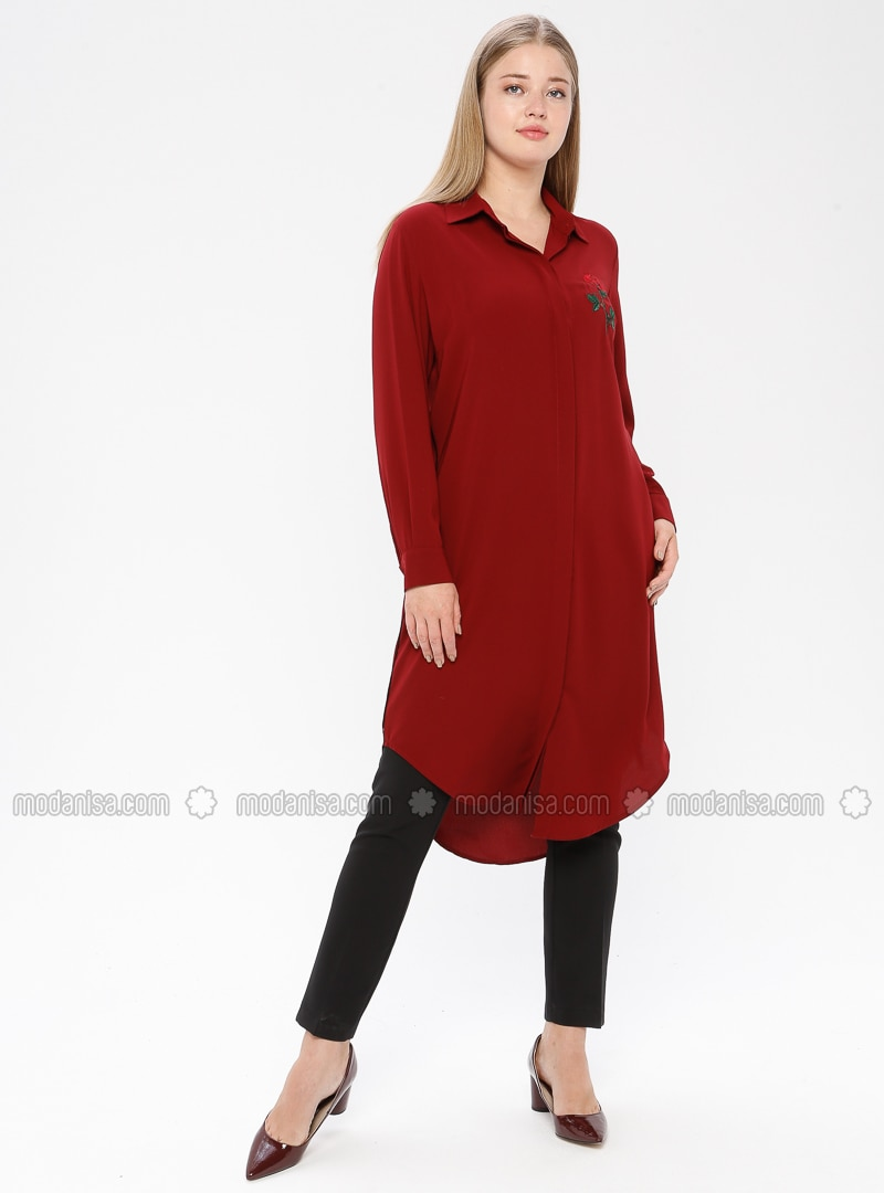 Maroon - Point Collar - Plus Size Tunic