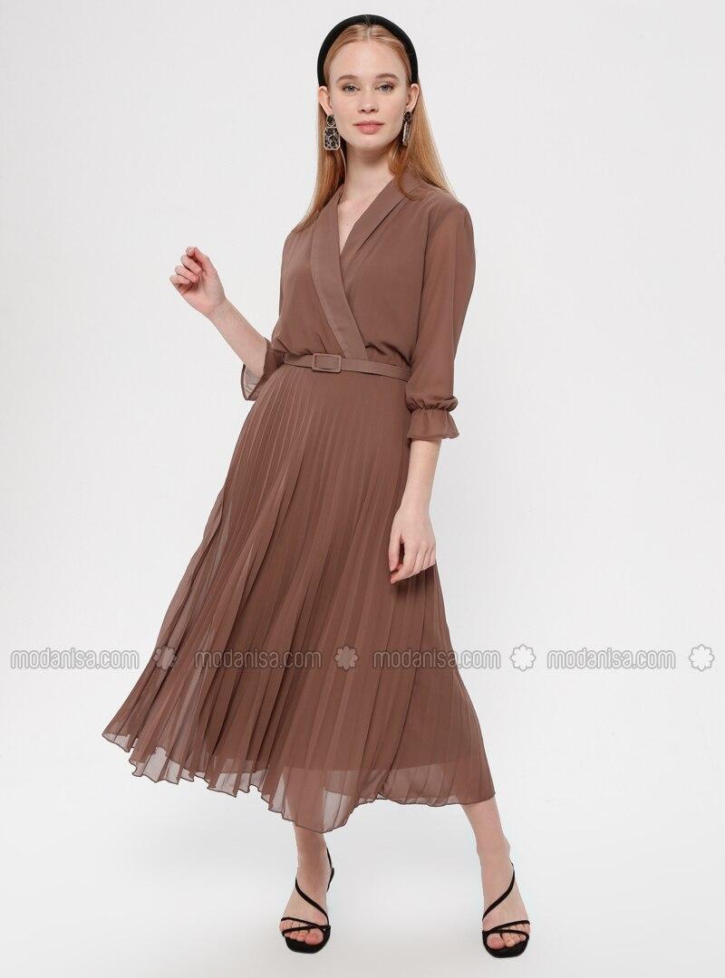 caee50e516dfc Pileli Ceket Yaka Elbise - Kahverengi