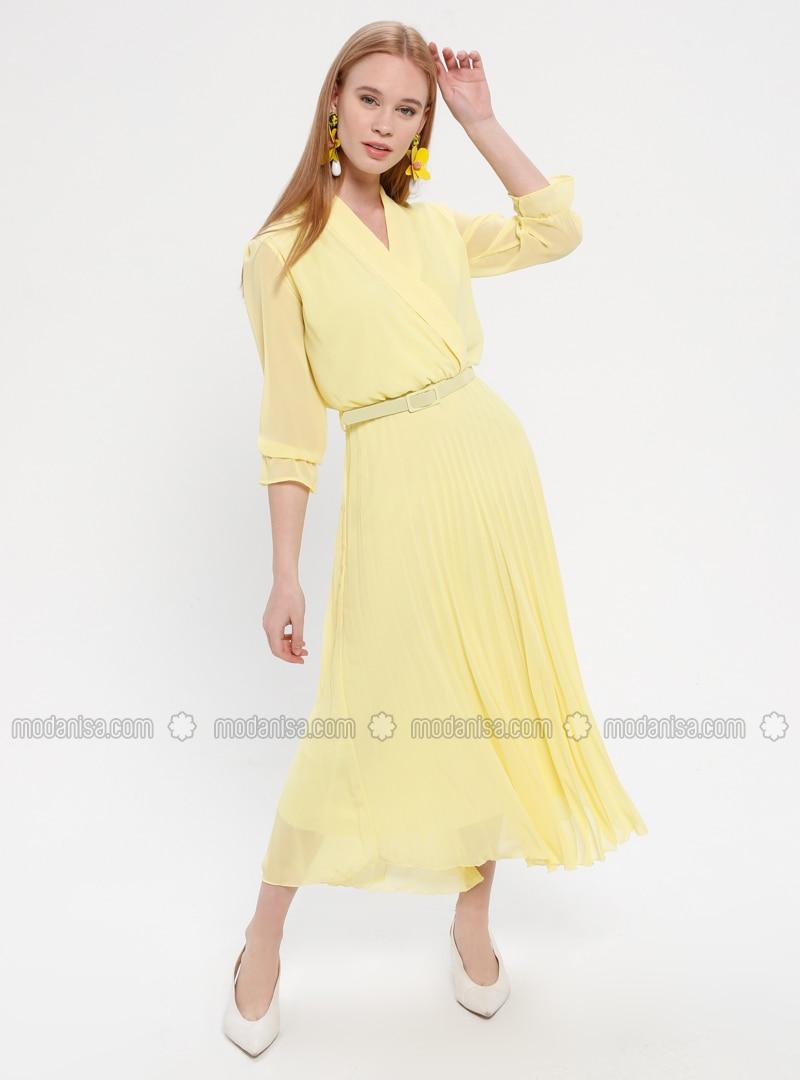 06d93424f6b10 Pileli Ceket Yaka Elbise - Sarı