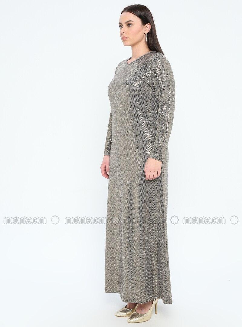 Gold - Unlined - Crew neck - Muslim Plus Size Evening Dress