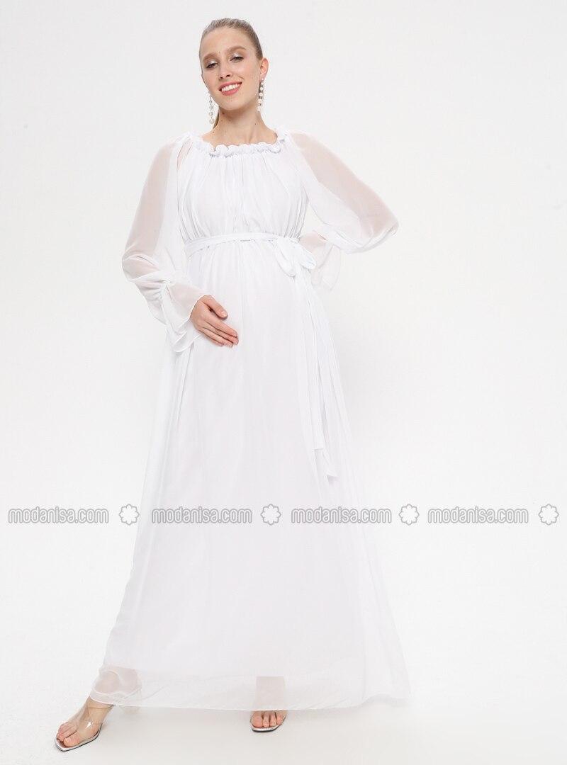 White - Ecru - Boat neck - Fully Lined - Cotton - Maternity Dress