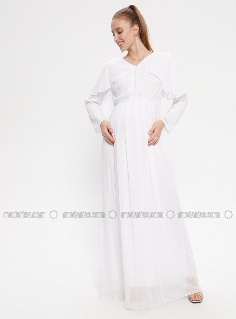 White - Ecru - V neck Collar - Fully Lined - Cotton - Maternity Dress