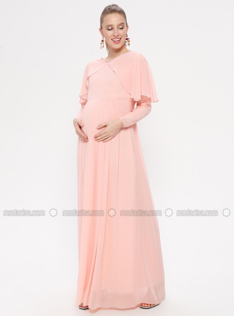 Powder - V neck Collar - Fully Lined - Cotton - Maternity Dress
