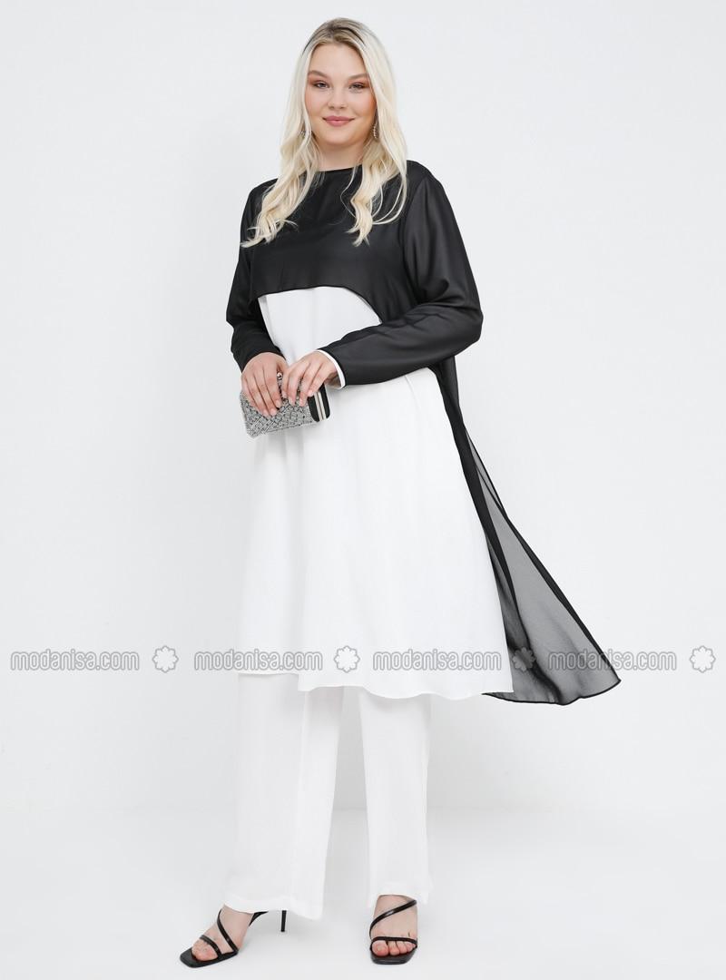 Black - White - Ecru - Crew neck - Unlined - Plus Size Suit