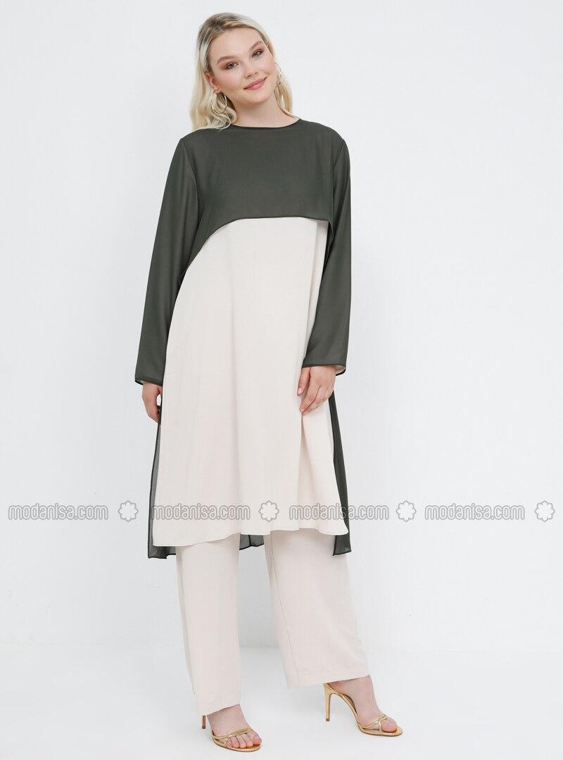 Khaki -  - Crew neck - Unlined - Plus Size Suit