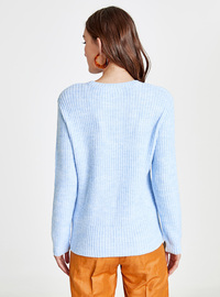 Printed - Crew neck - Blue - Jumper