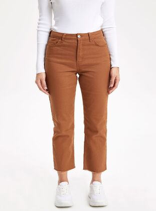 Brown - Girls` Pants - DeFacto