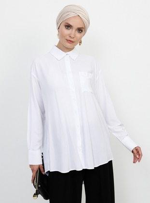 White - Ecru - Point Collar - Viscose - Blouses - Refka