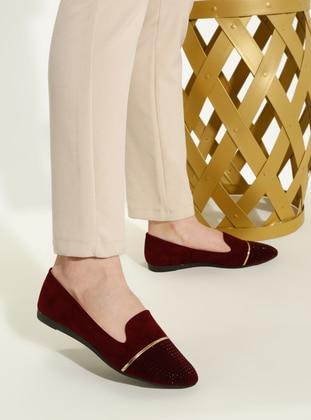 Maroon - Flat - Casual - Flat Shoes