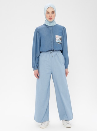 Blue - Cotton - Denim - Pants