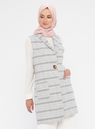 Gray - Pink - Stripe - Unlined - Shawl Collar - Cotton - Vest