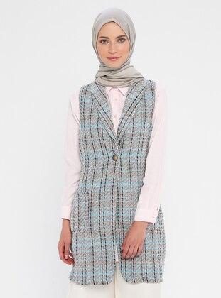 Gray - Blue - Pink - Stripe - Unlined - Shawl Collar - Cotton - Vest