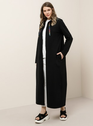 Black - Unlined - Cotton - Plus Size Coat - Alia