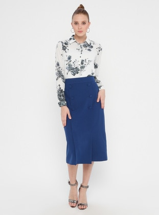 Blue - Navy Blue - Indigo - Unlined - Skirt