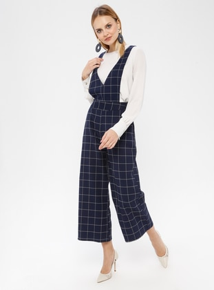 Navy Blue - Plaid - Unlined - Jumpsuit - Fashion Light