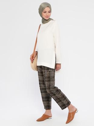 Khaki - Plaid - Acrylic -  - Pants