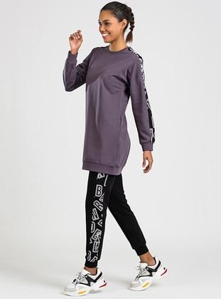 Black - Purple - Multi - Cotton - Crew neck - Tracksuit Set