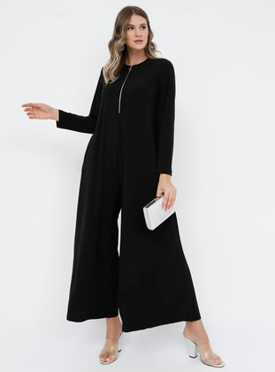 Black - Unlined - Crew neck - Plus Size Dress - Alia