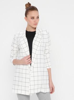 White - Ecru - Checkered - Unlined - Shawl Collar - Jacket - Fashion Light