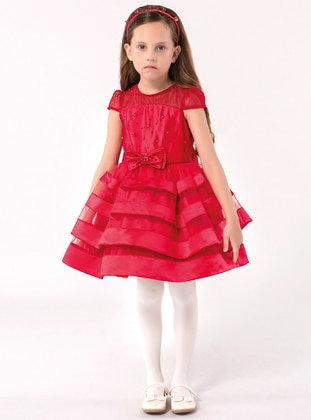 Crew neck - Fully Lined - Red - Girls` Dress