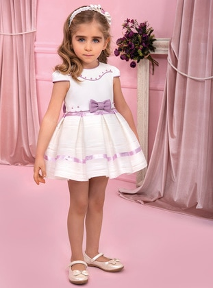 Crew neck - Cotton - Fully Lined - Lilac - Girls` Dress