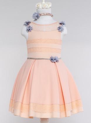Crew neck - Fully Lined - Powder - Girls` Dress