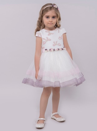 Multi - Crew neck - Fully Lined - Powder - Girls` Dress