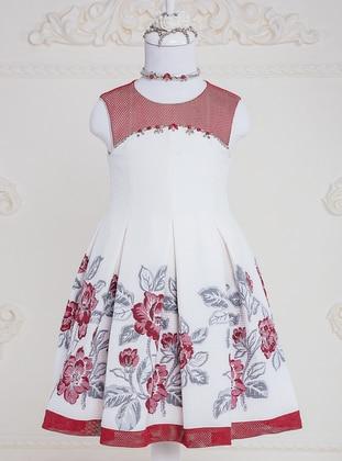 Floral - Crew neck - Maroon - Girls` Dress