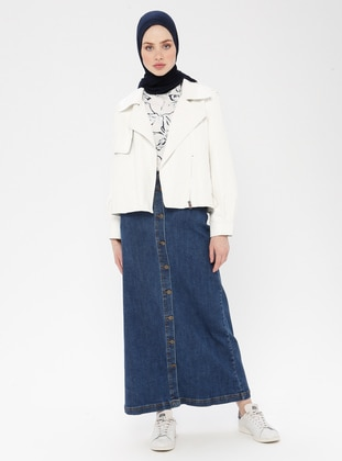 Navy Blue - Unlined - Cotton - Denim - Skirt