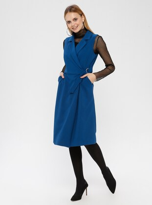 Petrol - Shawl Collar - Unlined - Dress
