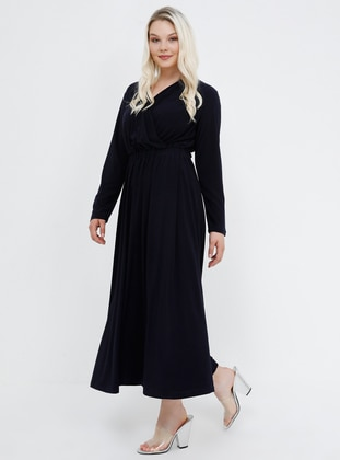 Navy Blue - Unlined - V neck Collar - Plus Size Dress