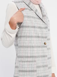 Gray - Pink - Stripe - Unlined - Shawl Collar - Cotton - Vest