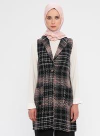 Multi - Black - Plaid - Unlined - Shawl Collar - Cotton - Vest