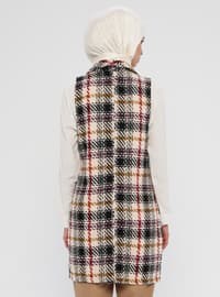 Stone - Plaid - Unlined - Shawl Collar - Cotton - Vest
