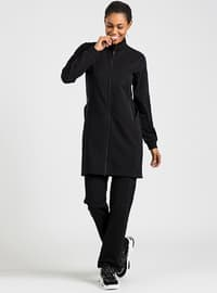 Black - Cotton - Polo neck - Tracksuit Set