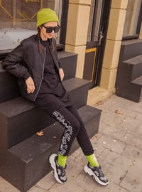 Black - Multi - Cotton - Crew neck - Tracksuit Set