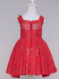 Multi - Crew neck - Cotton - Viscose - Fully Lined - Red - Girls` Dress