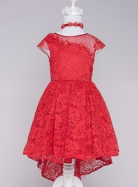 Multi - Crew neck - Fully Lined - Red - Girls` Dress