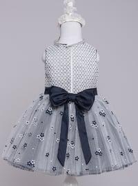 Multi - Crew neck - Fully Lined - Navy Blue - Girls` Dress