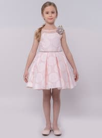 Multi - Crew neck - Cotton - Viscose - Fully Lined - Powder - Girls` Dress