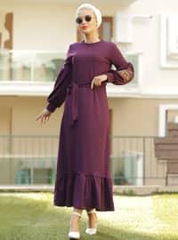 Mor - Yuvarlak yakalı - Astarsız kumaş - Elbise