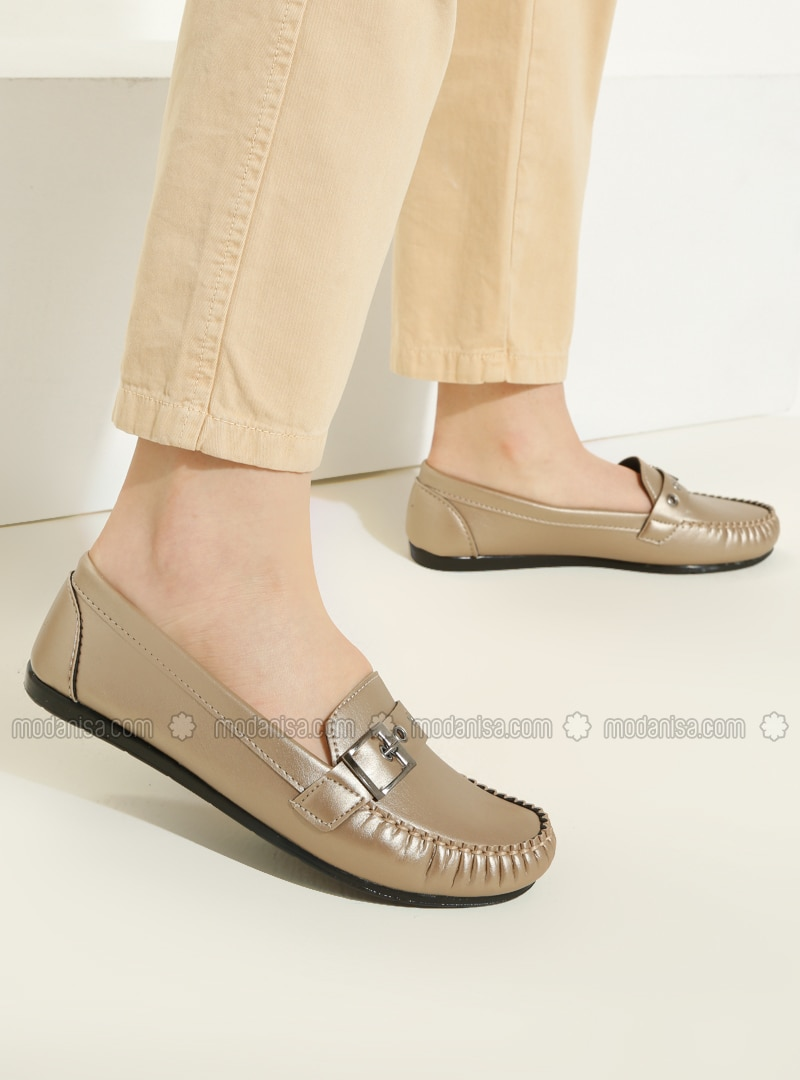 Gold - Flat - Casual - Flat Shoes