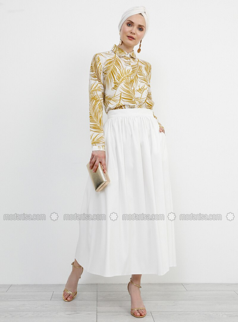 White - Ecru - Unlined -  - Skirt